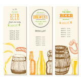Lista d'annata della birra per la barra o la fabbrica di birra Menu del pub Bandiere impostate Inchiostro assorbito Fotografie Stock