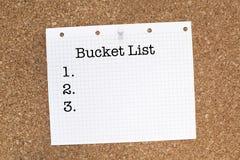 Lista da cubeta imagem de stock