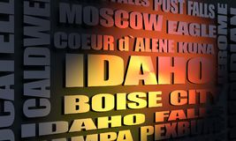 Lista das cidades de Idaho Fotografia de Stock