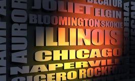 Lista das cidades de Illinois fotografia de stock royalty free