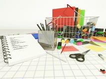 Lista de artigos de papelaria para a escola Imagem de Stock