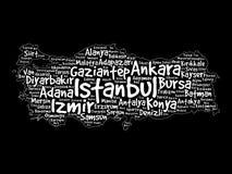 Lista de cidades no mapa da nuvem da palavra de Turquia Imagem de Stock