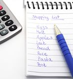 Lista de compra Fotos de Stock