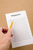 Lista de compra Fotografia de Stock Royalty Free