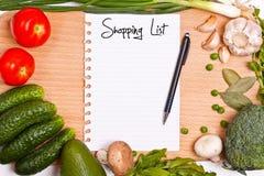 Lista de compra Imagens de Stock