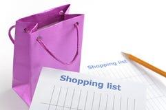 Lista de compra Foto de Stock Royalty Free
