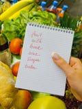 Lista de compra no supermercado (inglês Fotos de Stock