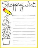 Lista de compras Imágenes de archivo libres de regalías