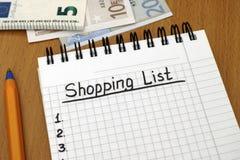 Lista de compras con euro Imágenes de archivo libres de regalías