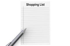 Lista de compras con la pluma Fotos de archivo