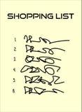 Lista de compras con seis artículos en el papel beige Imagen de archivo libre de regalías