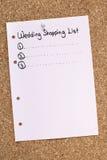 Lista de compras de la boda Imágenes de archivo libres de regalías