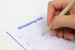 Lista de compras de la estación Imagen de archivo