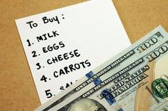 Lista de compras en presupuesto Fotos de archivo libres de regalías