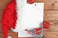 Lista de compras para la Navidad fotografía de archivo