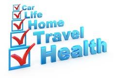 Lista de comprobación del seguro Foto de archivo libre de regalías