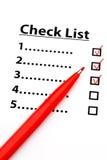 Lista de control con número Fotos de archivo libres de regalías