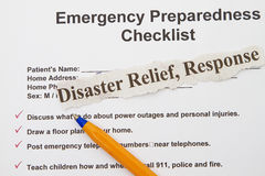 Lista de control de la emergencia Foto de archivo libre de regalías