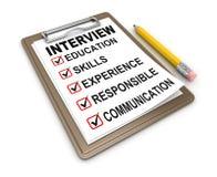 Lista de control de la entrevista Foto de archivo
