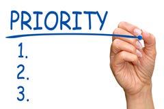 Lista de control de la prioridad Fotografía de archivo