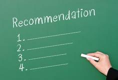 Lista de control de la recomendación de la pizarra Imagen de archivo libre de regalías