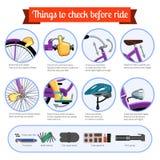 lista de control del Pre-paseo para la bicicleta stock de ilustración