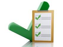 lista de control del tablero 3d y marca de cotejo verde Diversa bola 3d Imagen de archivo libre de regalías