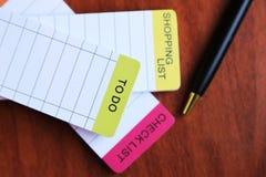 Lista de control, hacer la lista Foto de archivo libre de regalías