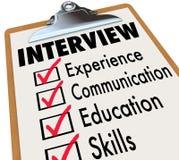 Lista de control Job Candidate Requirements de la entrevista Imagen de archivo