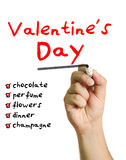 Lista de control para el día de tarjeta del día de San Valentín Fotografía de archivo libre de regalías