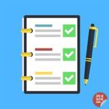 Lista de control, tareas completas, lista de lío, encuesta, conceptos del examen Imagen de archivo