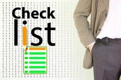 lista de control un hombre joven en una chaqueta stock de ilustración