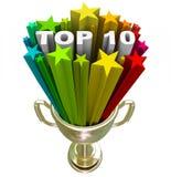 Lista de graduación del Top Ten que muestra las mejores opciones y calidad Imagen de archivo libre de regalías