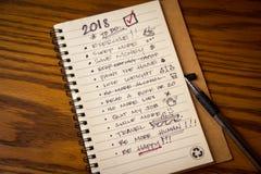 Lista de la resolución del Año Nuevo Imagen de archivo