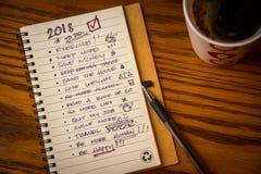 Lista de la resolución del Año Nuevo Foto de archivo