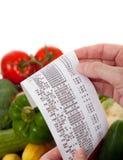 Lista de la tienda de comestibles sobre un bolso vehículos imágenes de archivo libres de regalías