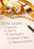 Lista de las metas 2018 con la decoración Fotografía de archivo libre de regalías