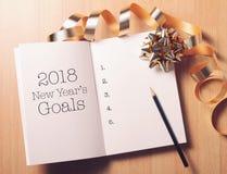 Lista de las metas 2018 con la decoración Fotos de archivo libres de regalías