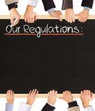 Lista de las regulaciones Foto de archivo