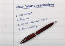 Lista de las resoluciones del Año Nuevo Foto de archivo libre de regalías