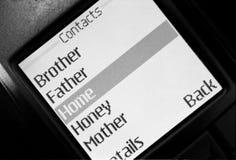Lista de los contactos en teléfono Fotografía de archivo