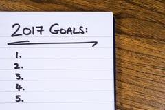Lista de 2017 metas Imagen de archivo