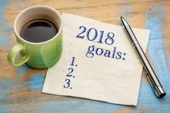 lista de 2018 metas del año en servilleta Imágenes de archivo libres de regalías