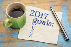 lista de 2017 metas en servilleta Foto de archivo