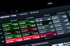 Lista de índices del mercado de acción Fotos de archivo libres de regalías