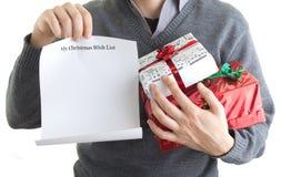 Lista de objectivos pretendidos do Natal Foto de Stock