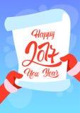 Lista de objetivos pretendidos do ano novo feliz de Santa Claus Hands Scroll Merry Christmas Fotos de Stock Royalty Free