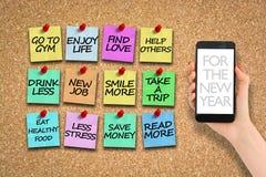 lista de objetivos pretendidos 2017 no corkboard com os pinos de papel coloridos Fotos de Stock Royalty Free