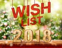 Lista de objetivos pretendidos 2018 & x28; 3d rendering& x29; suspensão sobre a tabela de madeira da prancha com Imagem de Stock