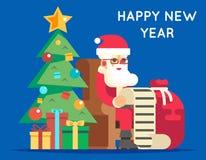 Lista de presentes de Santa Claus Cartoon Character Tree Bell Fotos de Stock
